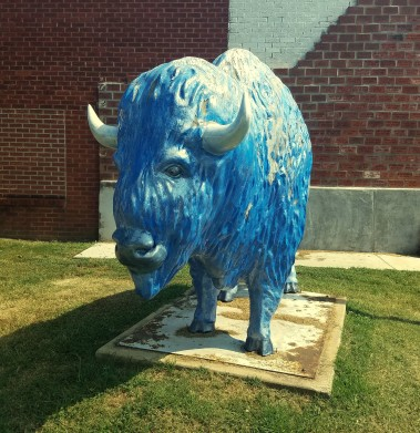 Bison Statue in the Small Downtown Park of Checotah
